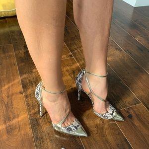 Jimmy Choo MUTYA 100 snake gold heels 38